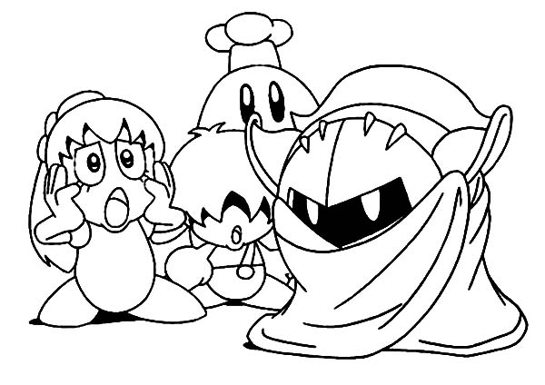 kirby kirby in action coloring pages