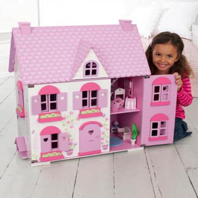 Rosebud House - The Realistically Designed 3-Storey Wooden Doll House For Kids