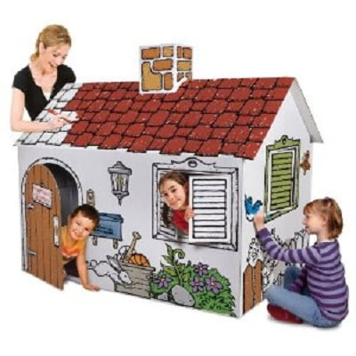 Kids Playhouse - Discovery Kids Cardboard Color Me Play House