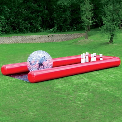 The Human Bowling Ball - with 7 feet inflatable ball and 5 feet tall foam pins