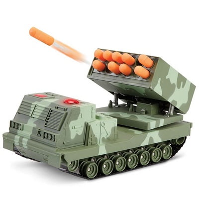 The RC Rapid Fire Rocket Launcher - A remote control battle tank with moving turrets capable of firing missiles at 15 feet away