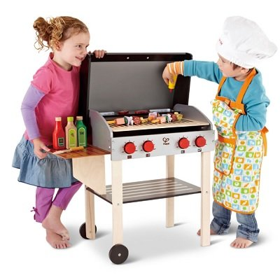 The Child's Wooden BBQ Playset - A toy wooden gourmet grill ready to fire up a young chef's imagination