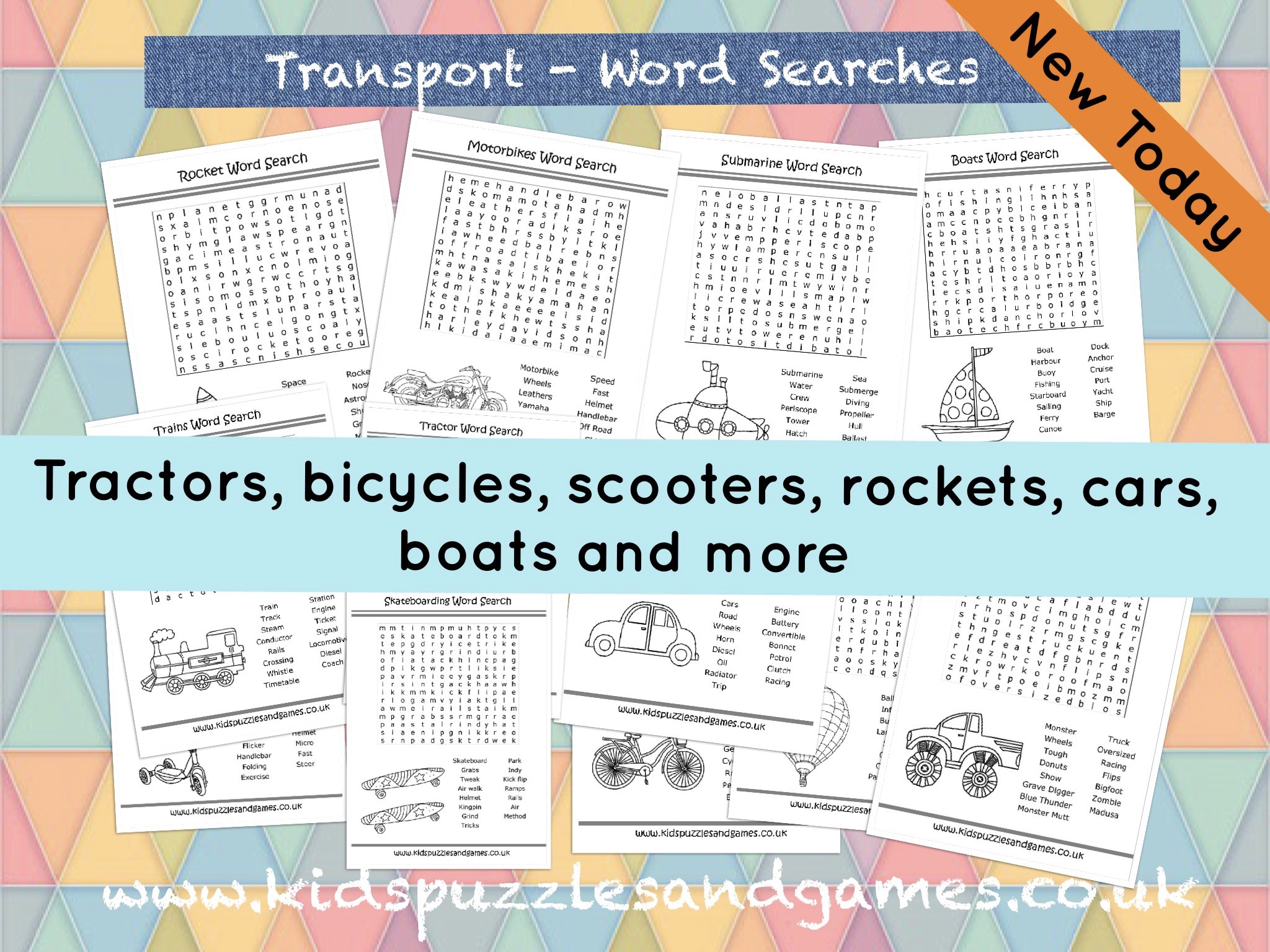 Transport Word Searches Added Today