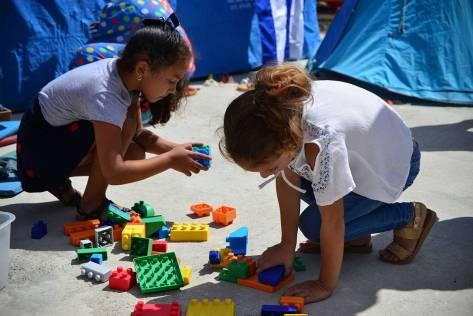 Girl Children Playing With Blocks