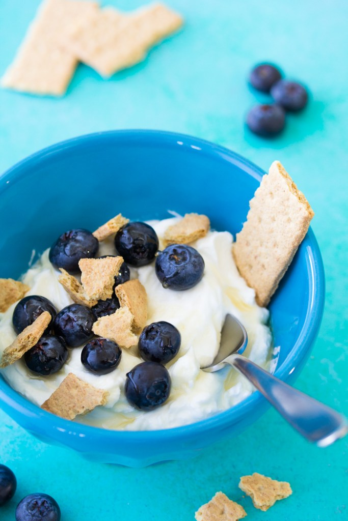 This Greek yogurt bowl with blueberries is a healthy snack or breakfast!