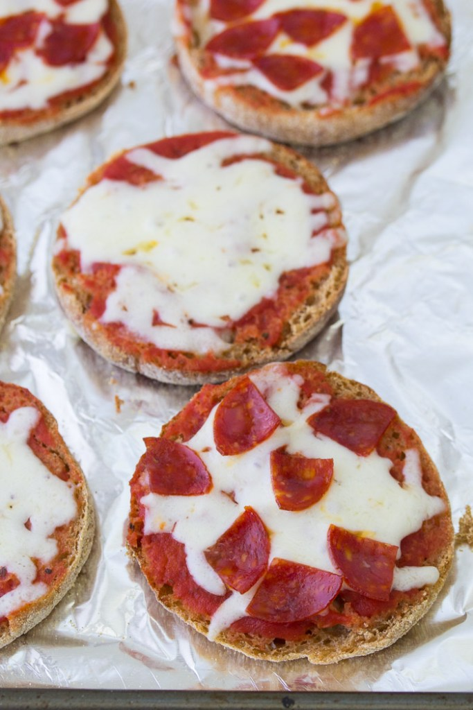 Cheese and pepperoni English muffin mini pizzas.
