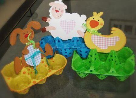 boite d'oeuf décorée pâques animaux