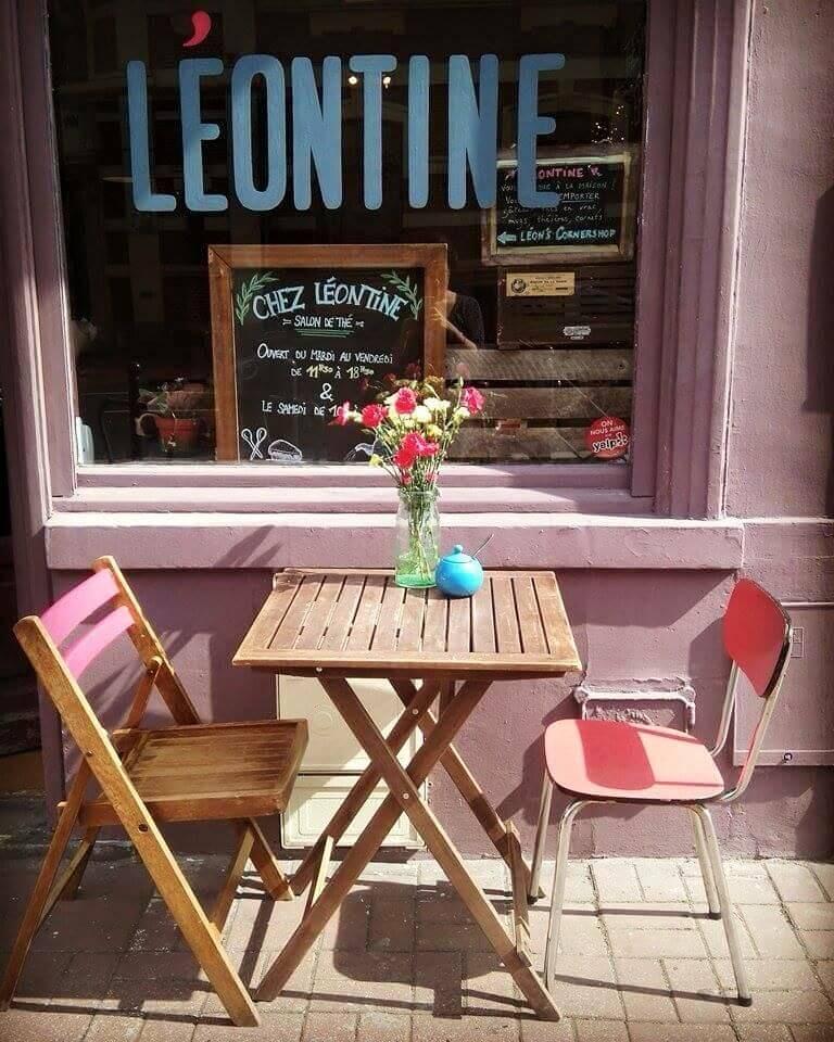 Chez léontine - devanture salon de thé