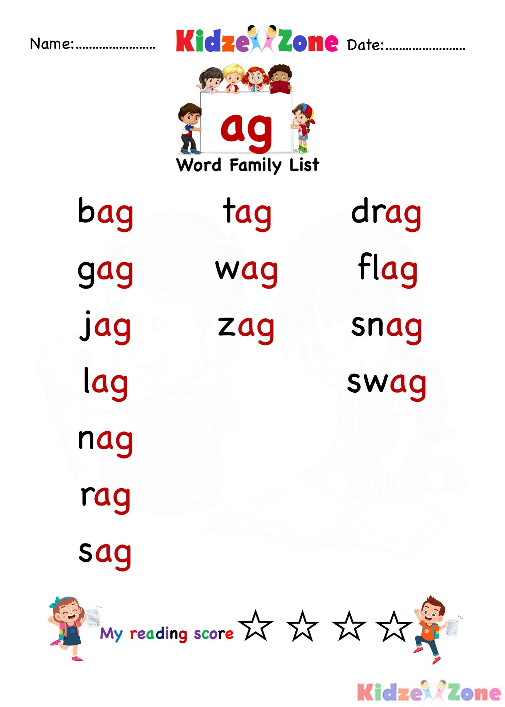 Ag Word Family Worksheet