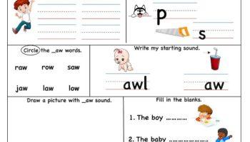 aw word family – Super Smart Worksheet