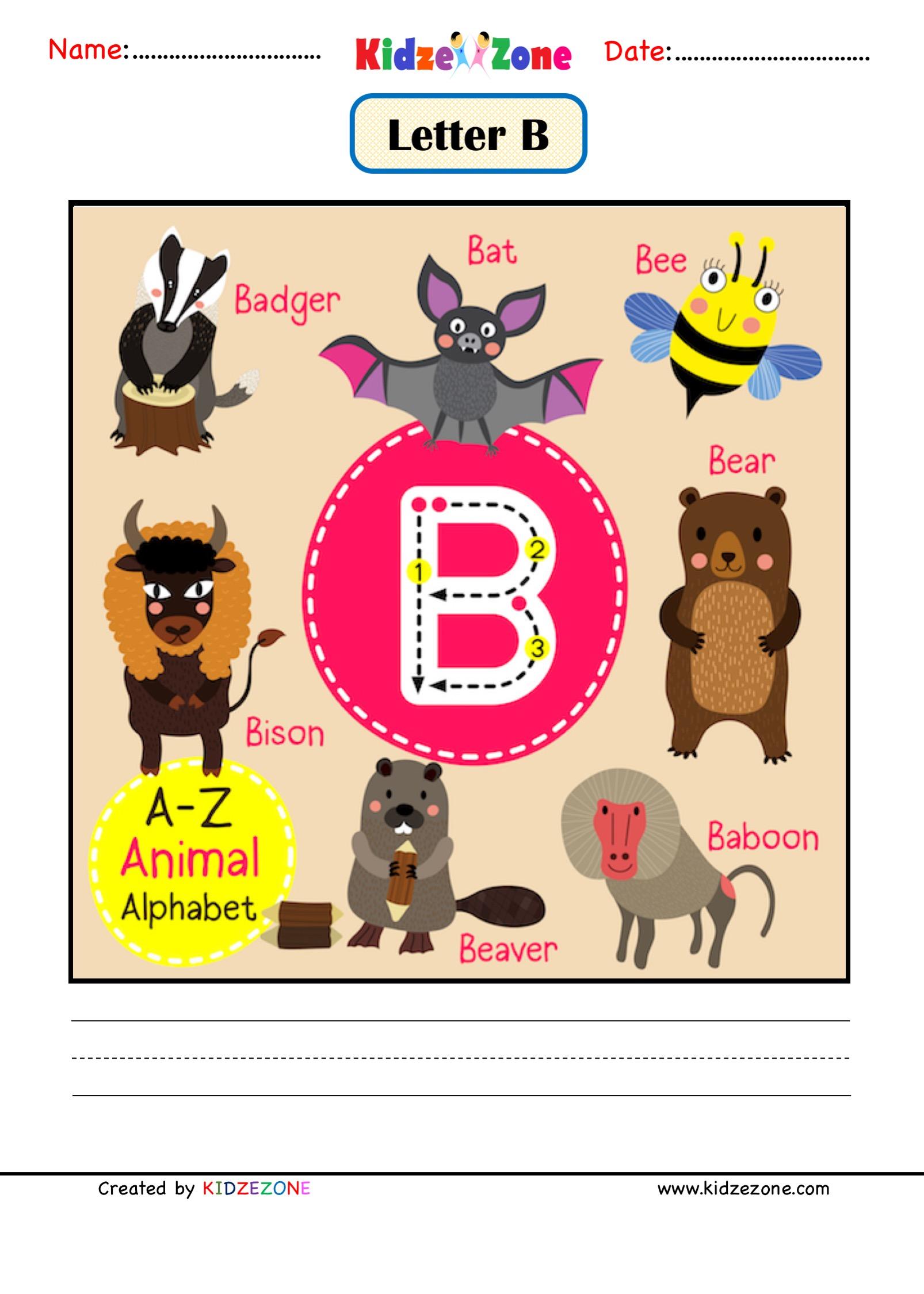Kindergarten Letter B Animal Picture Cards Worksheet
