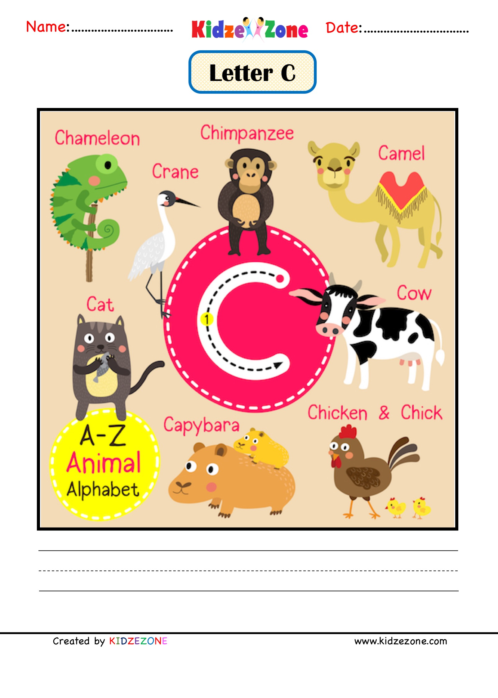 Kindergarten Letter C Animal Picture Cards Worksheet