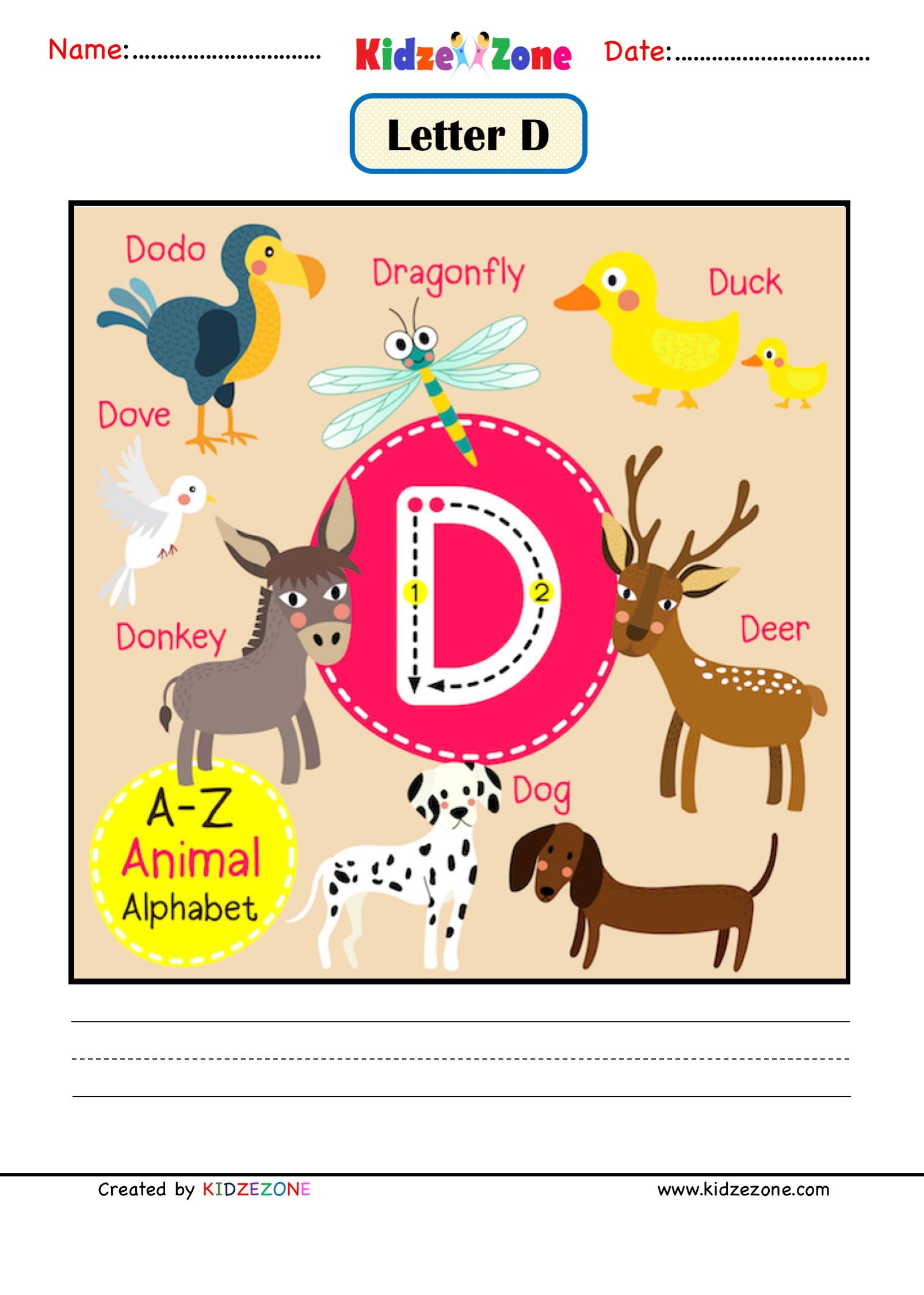 Kindergarten Letter D Animal Picture Cards Worksheet