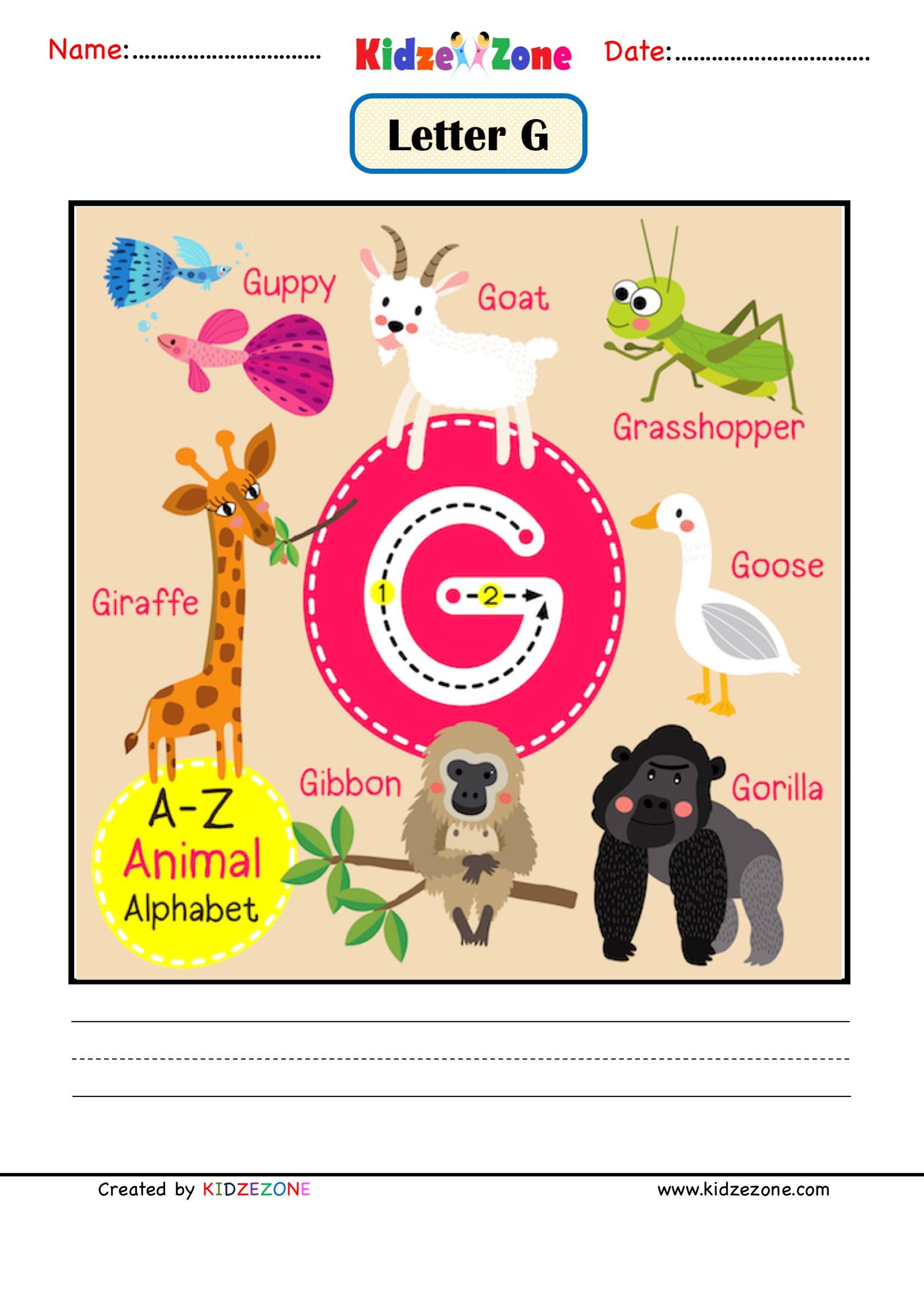 Kindergarten Letter G Animal Picture Cards Worksheet