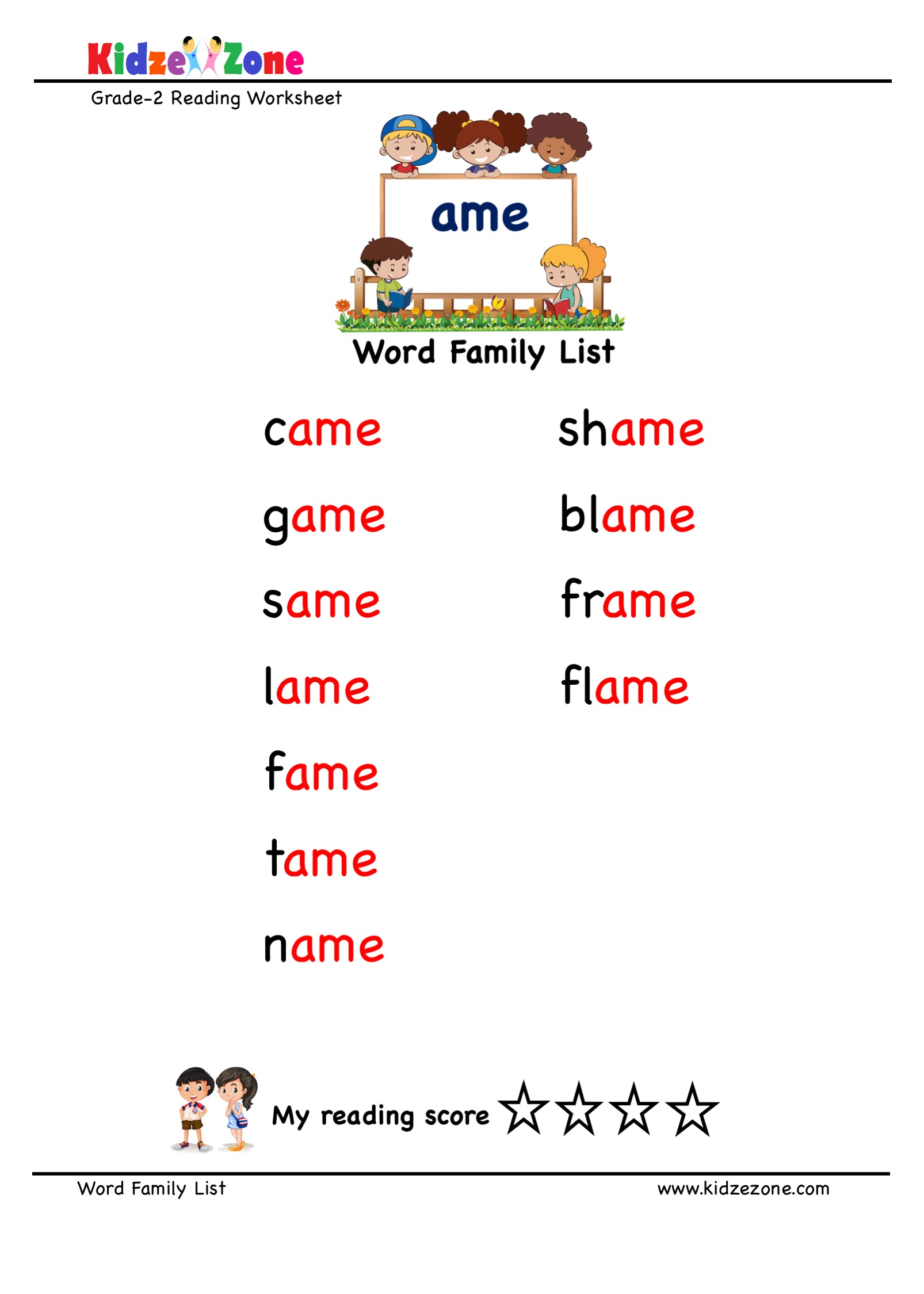 Explore And Learn Words From Ame Word Family With Word