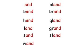 "Kindergarten Word Family – ""and"" word list worksheet"