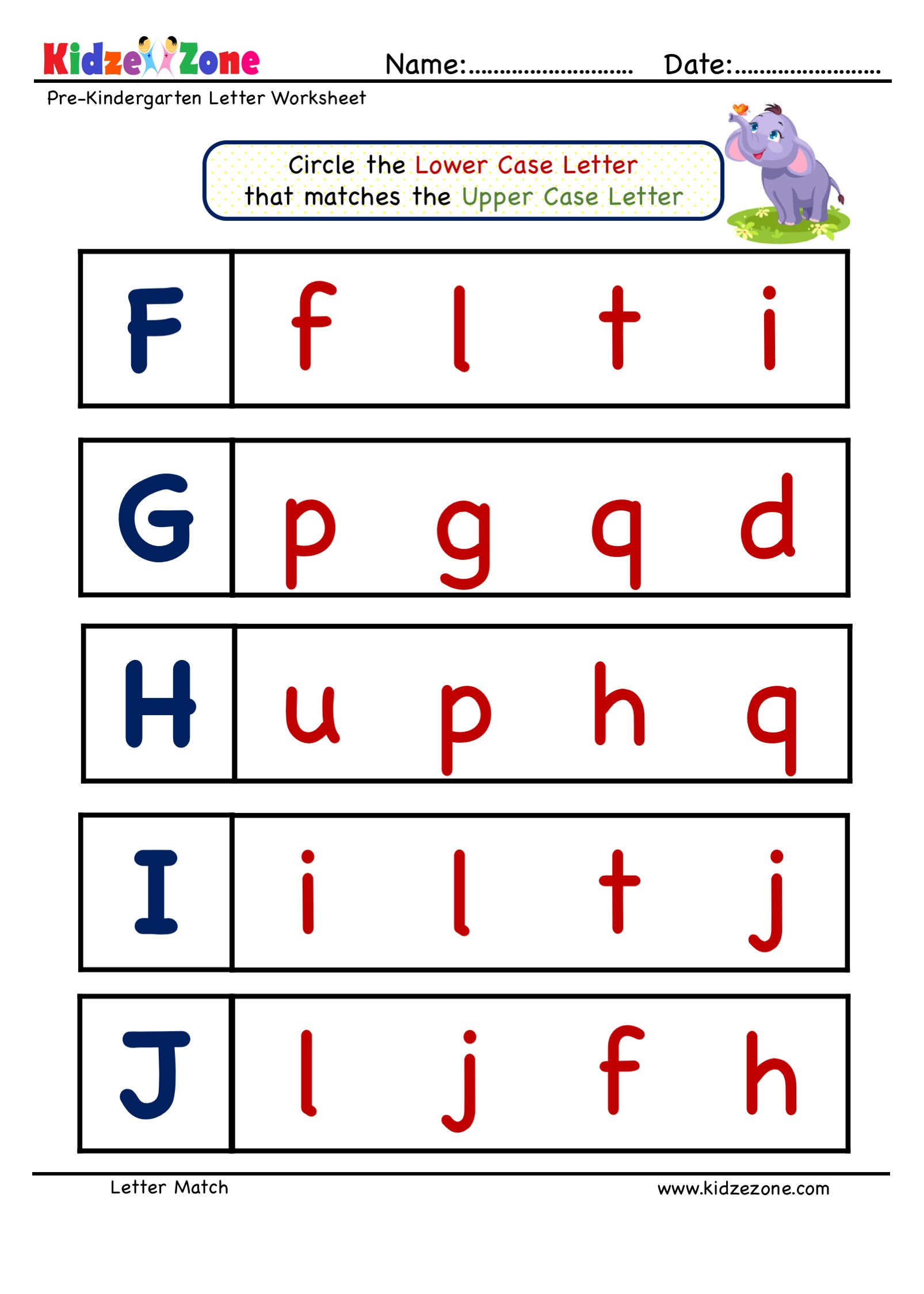 Preschool Letter Matching Upper Case To Lower Case Worksheet 1