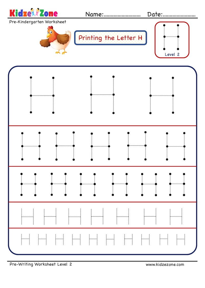 Preschool Letter H Tracing Different Sizes Kidzezone