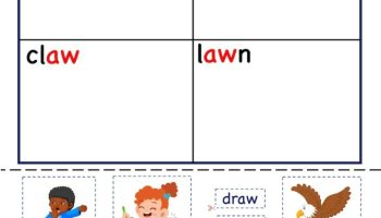 Aw word family Activity worksheets