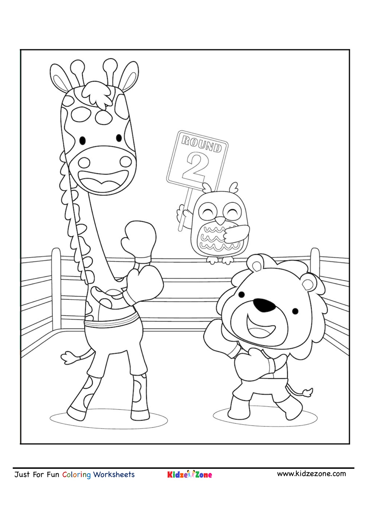 Boxing Match Coloring Page