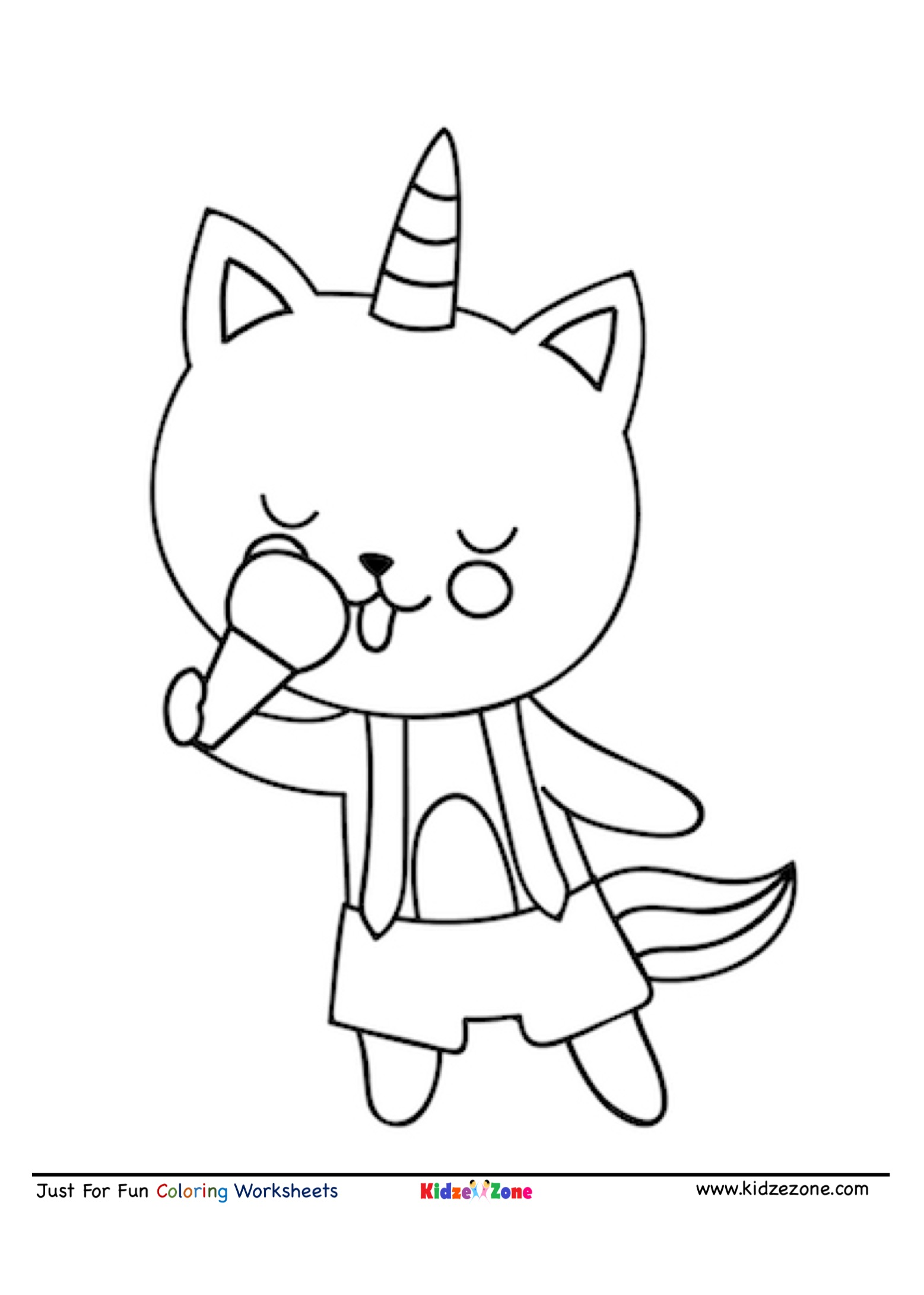 Cat Eating Ice Cream Cartoon Coloring Page