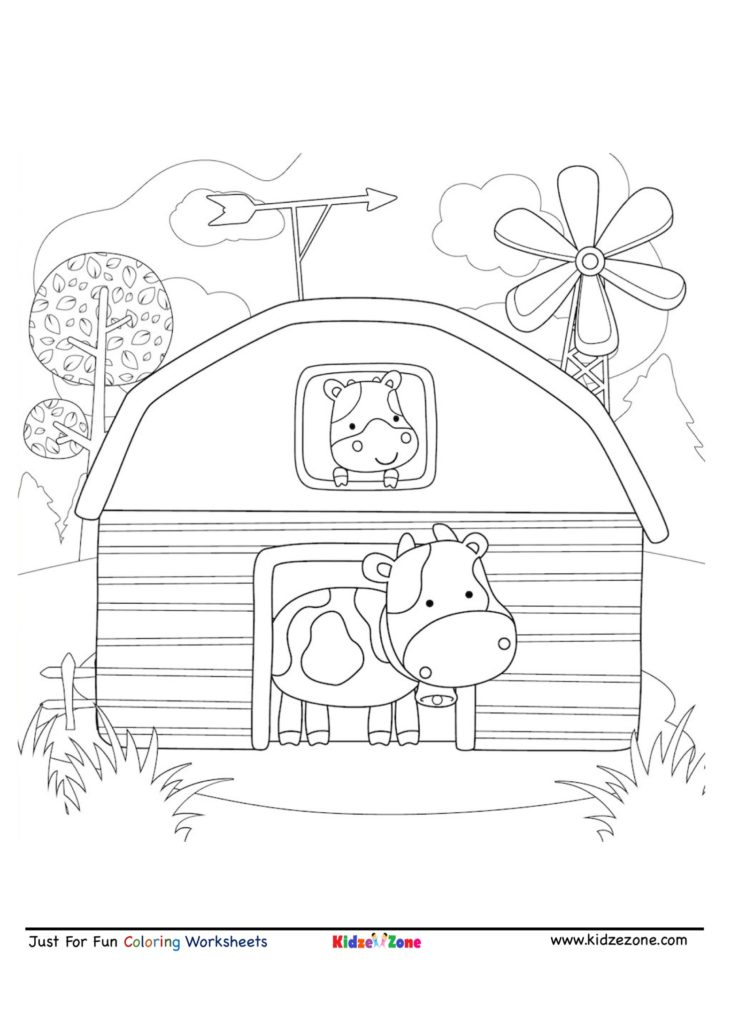 Cow In A Barn Cartoon Coloring Page Kidzezone