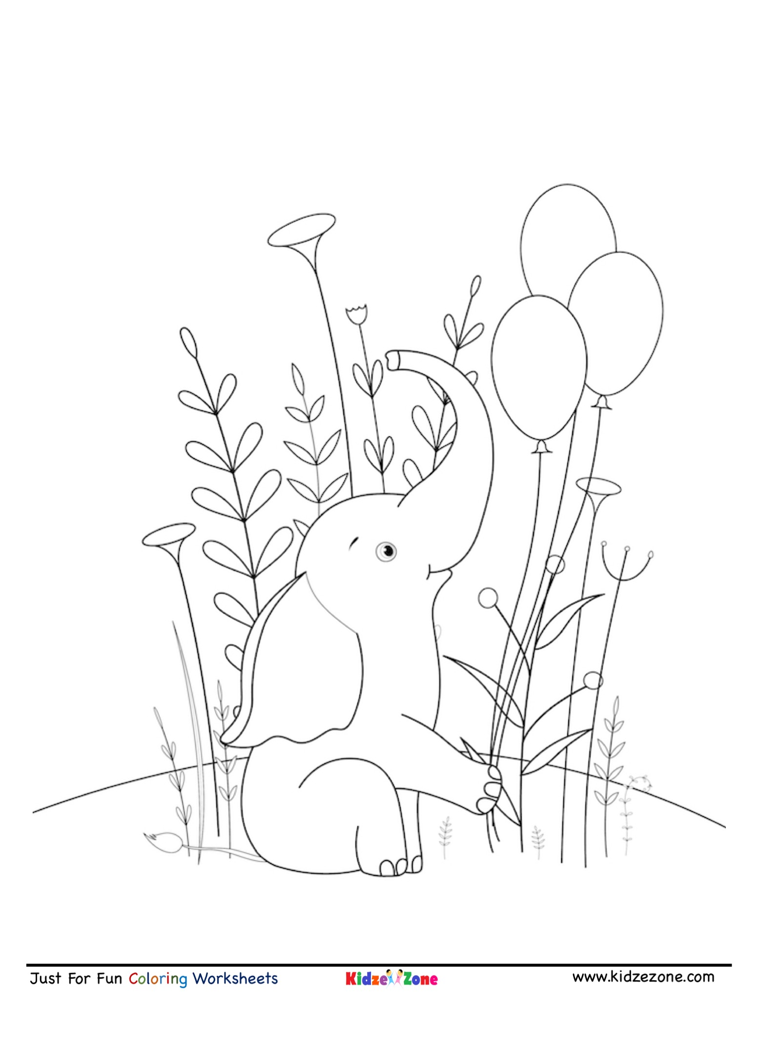 Baby Elephant With Balloon Cartoon Coloring Page