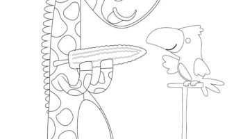Giraffe and Birdy having Corn Coloring Page