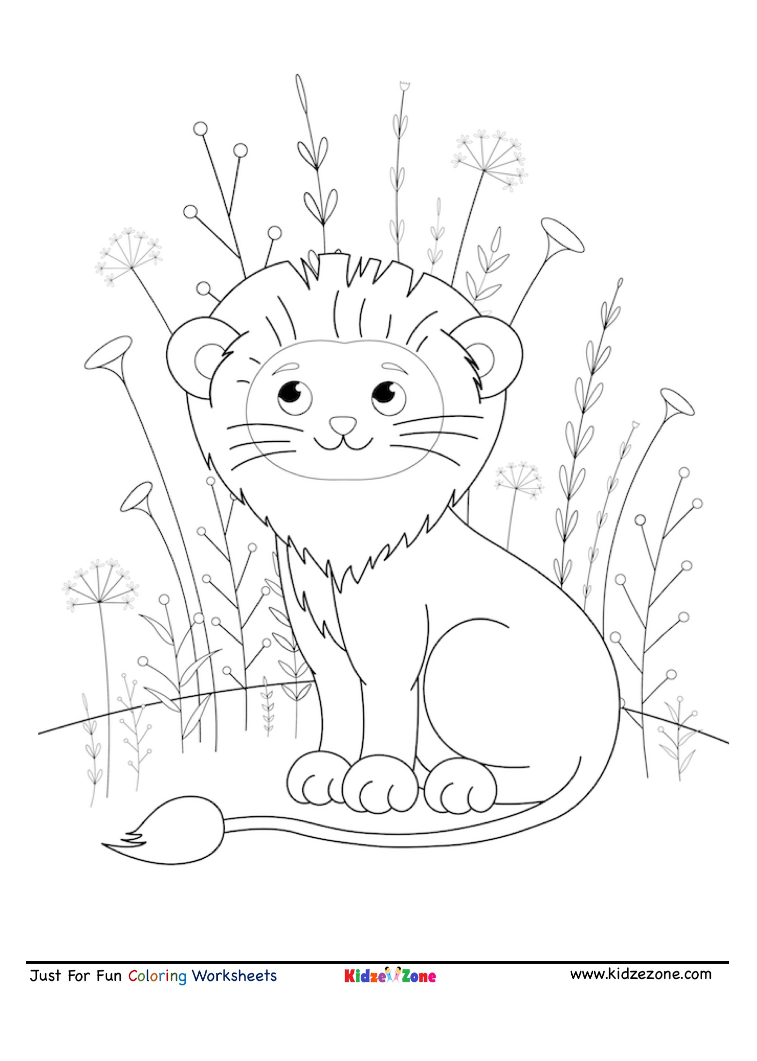 Cute Smiling Lion Coloring Page