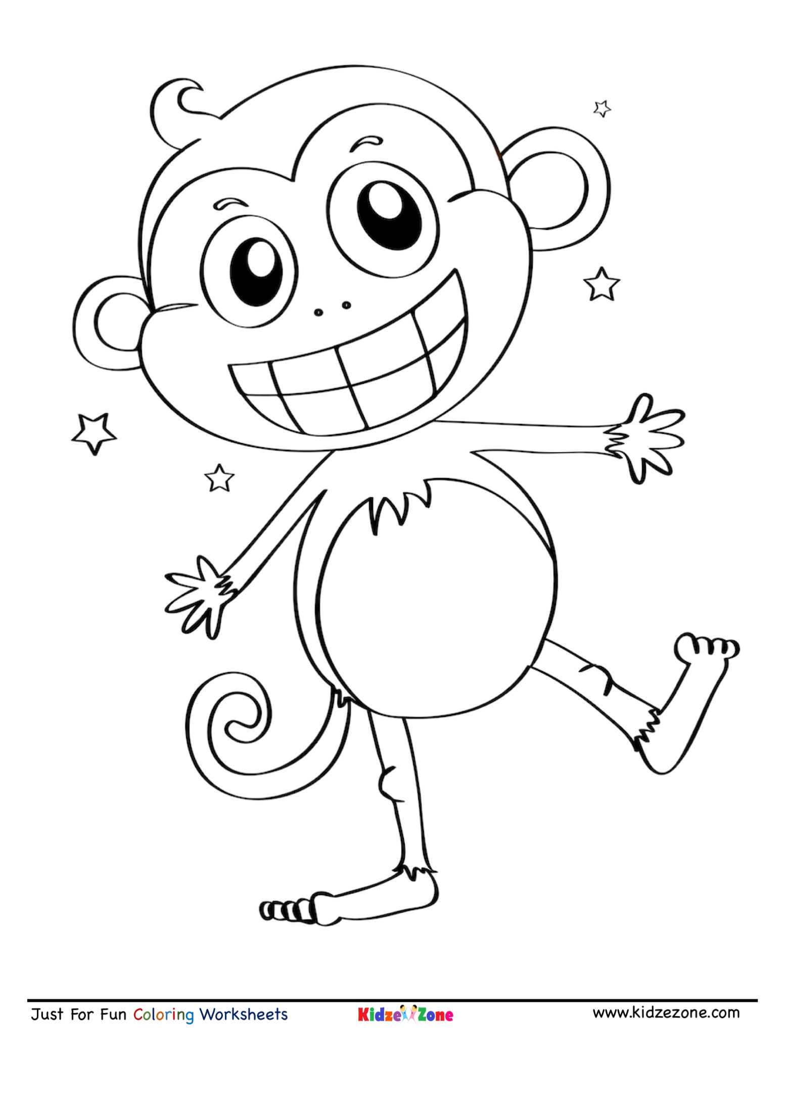 Dancing Monkey Coloring Page