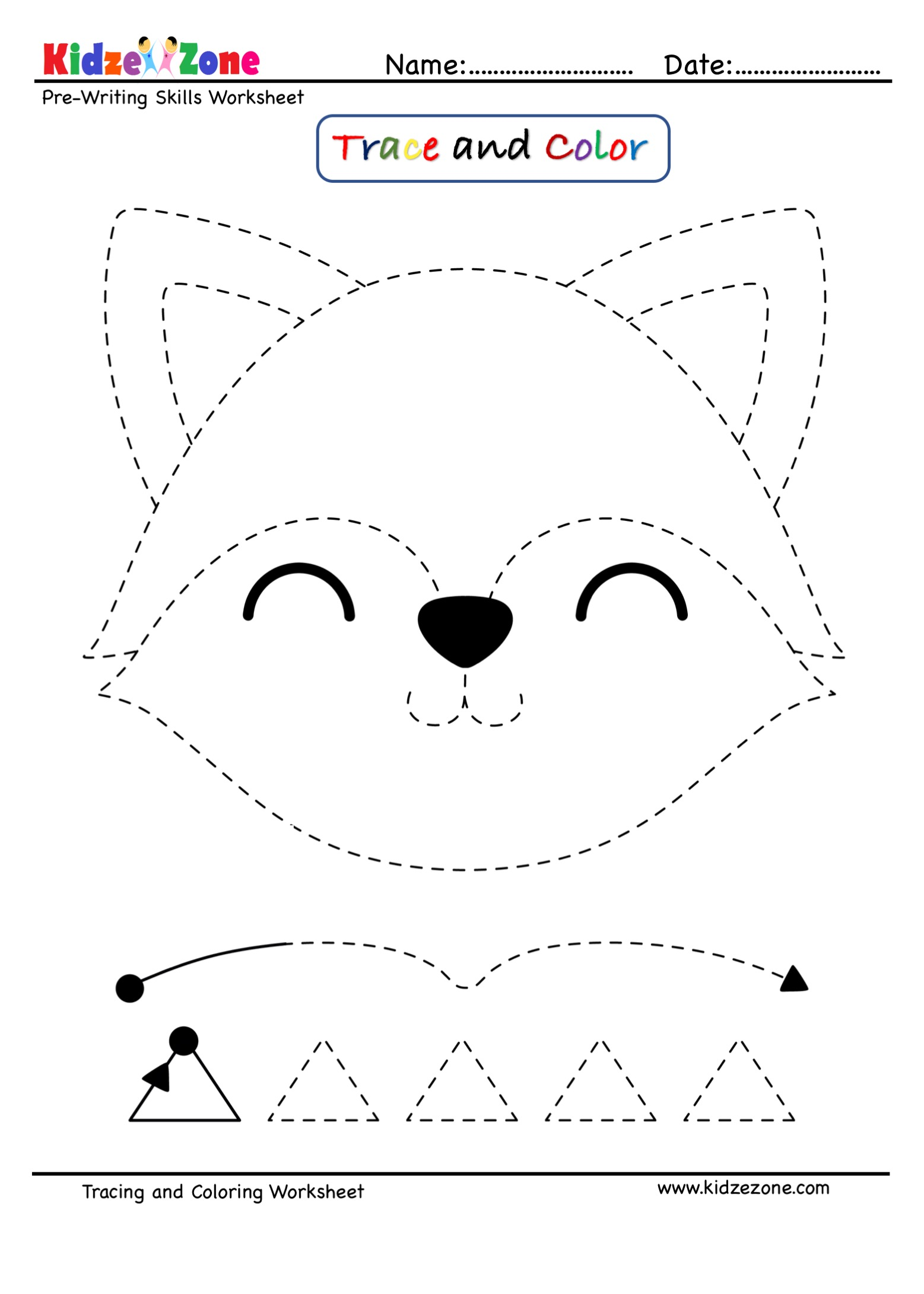 Pre Writing Trace And Color Worksheet Fox Cartoon