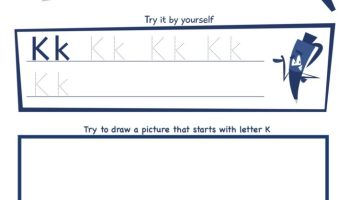 Letter K Super Smart Tracing, Writing, Drawing and Activity Worksheet