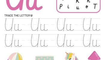 Letter U Tracking Worksheet. Learn words with letter U
