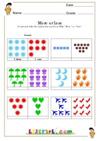 Math Worksheet First Grade Kindergarten Activity Sheet