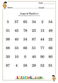 Find The Largest Number Worksheets Printable Activity