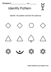 Worksheet To Identify The Shape Pattern Assessment