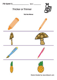 Thicker Or Thinner Worksheets Pre School Activity Sheets