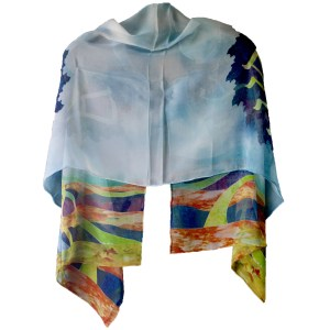 Silk Jewish Etz Chaim Blue Prayer Shawl Back