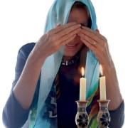 Silk Jewish Etz Chaim Blue Prayer Shawl Candles
