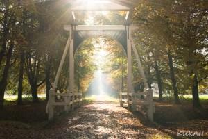 De brug achter de Ennemaborgh in fraai lichtspel