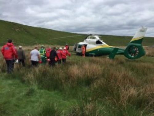 Stretcher carry to the helimed at Peel Crag