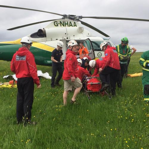 Final checks before loading the casualty into the helimed