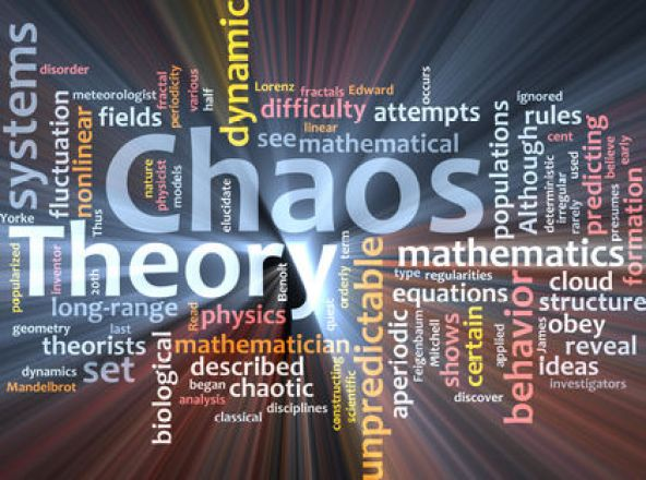 Word cloud concept illustration of chaos theory glowing light effect