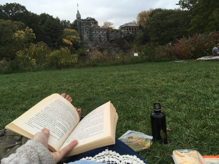 reading a book in central park