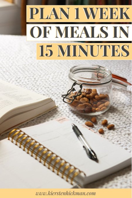 Plan one week of meals in 15 minutes pin for pinterest
