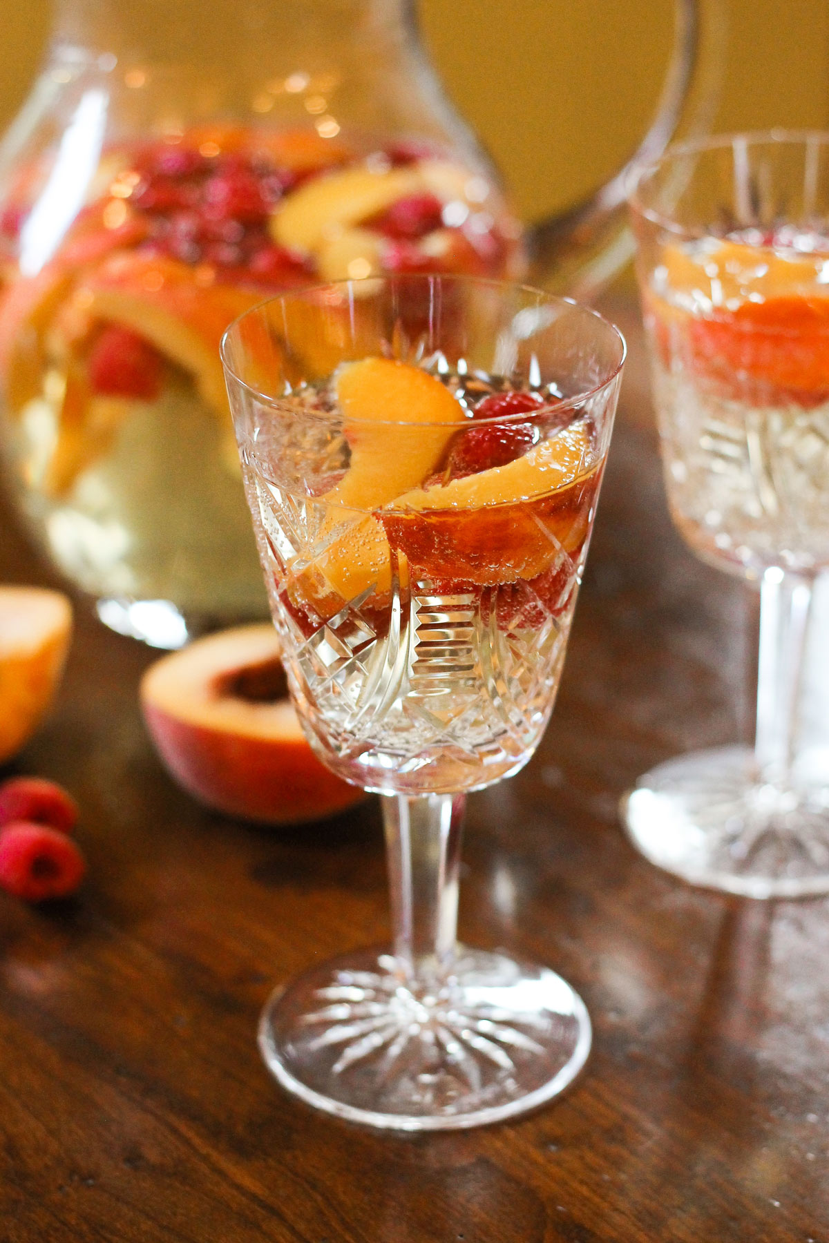 Cup of sparkling peach sangria