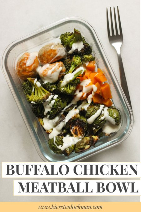 Buffalo chicken meatball bowl pin for Pinterest