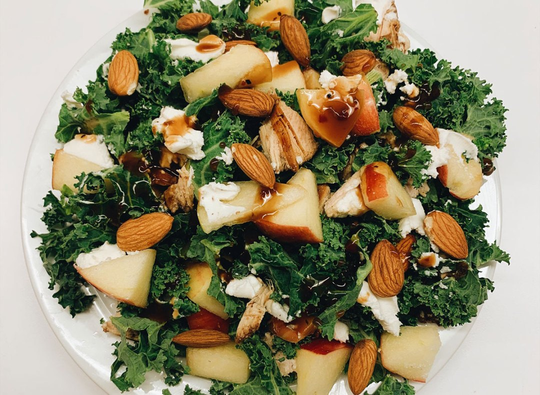 Apple kale salad on a plate