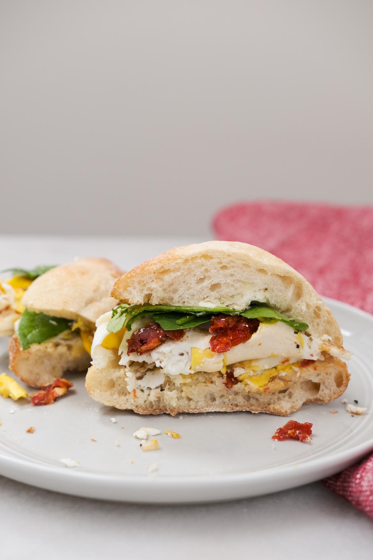 cut open boursin ciabatta breakfast sandwich