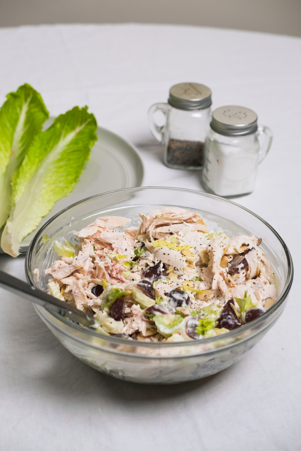 close up of chicken salad in a bowl